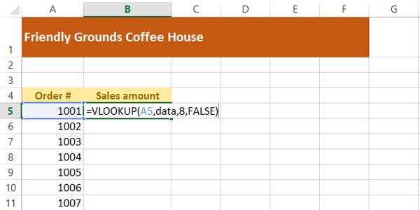entering the vlookup function