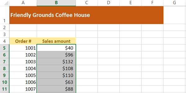 worksheet with data after using autofill