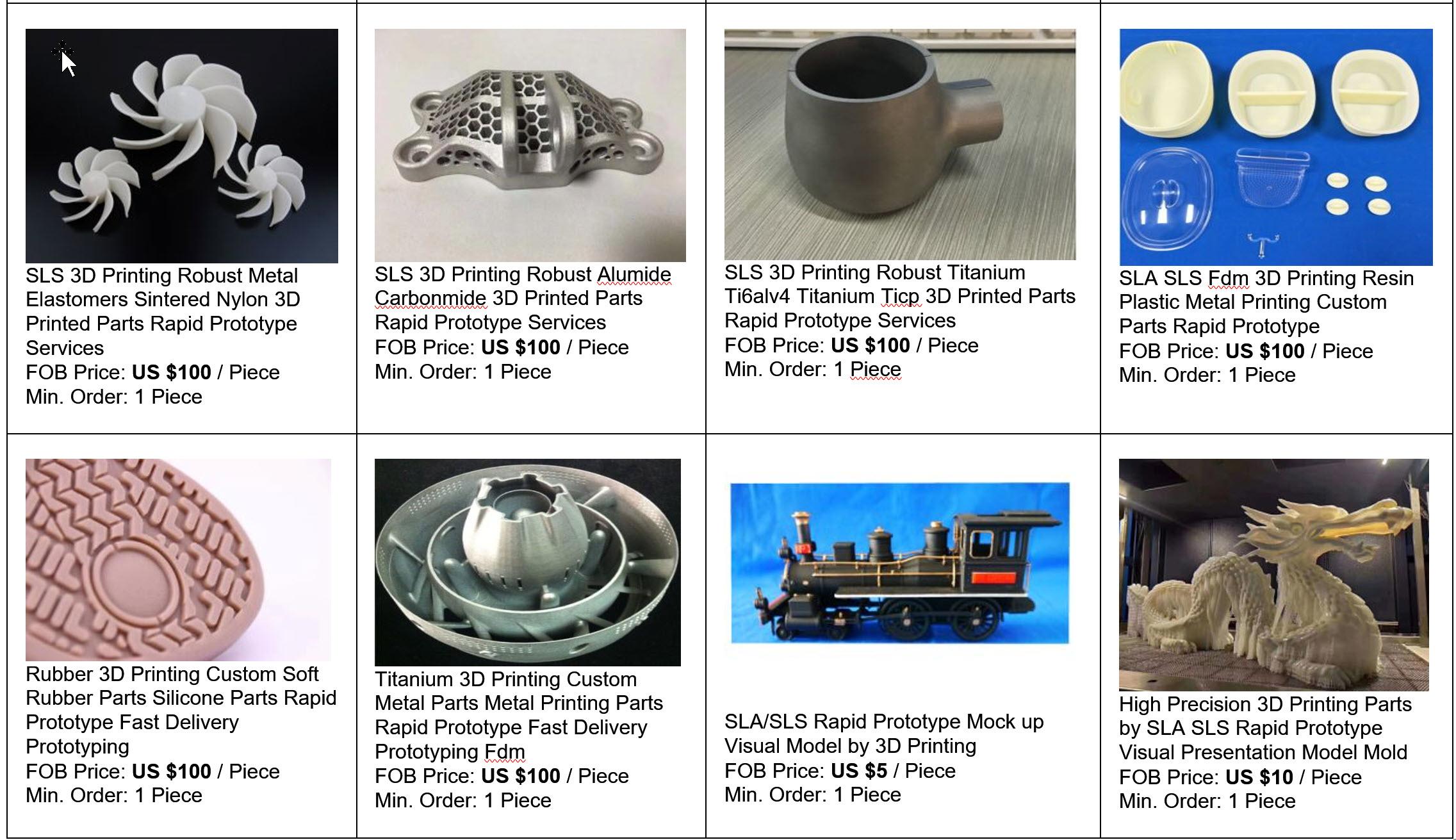 Priseksempler på Prototypeservice af emner produceret ved 3 D Printing