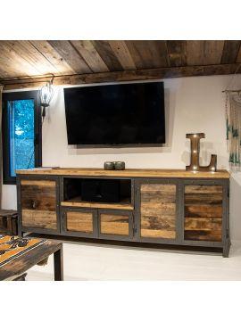 meubles et etageres metal et bois style