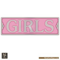 "Girls - 8.25"" Aluminum Door Sign - Metal Cast Sign Co."