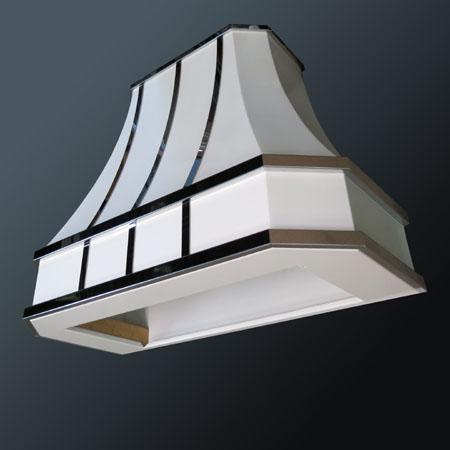 White range hood with polished stainless steel accents