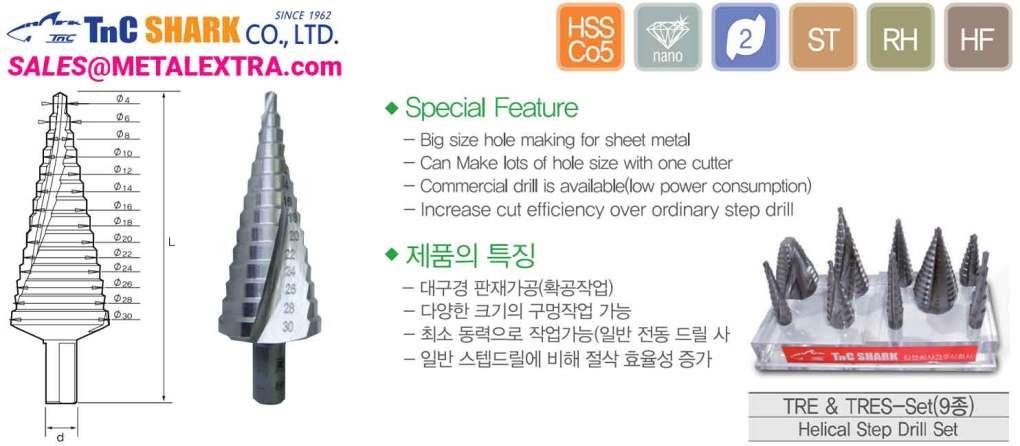 TNC SHARK Helical Step Drill Spiral Flute HSS Cobalt