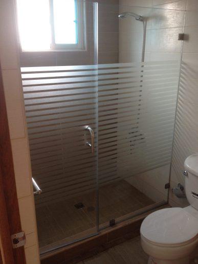 Mampara de baño con puerta abisagrada