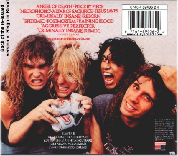 Reign in Blood back cover