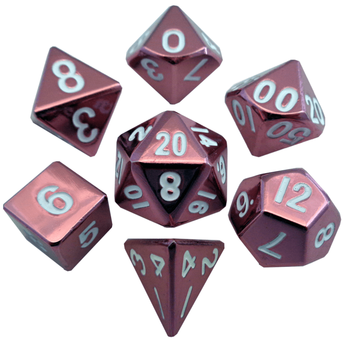 Pink with White Numbers 16mm Metal Polyhedral Dice Set