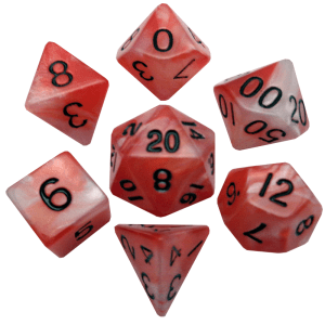 Red and White Poly Dice Set