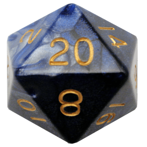 Blue and White D20 Mega Acrylic