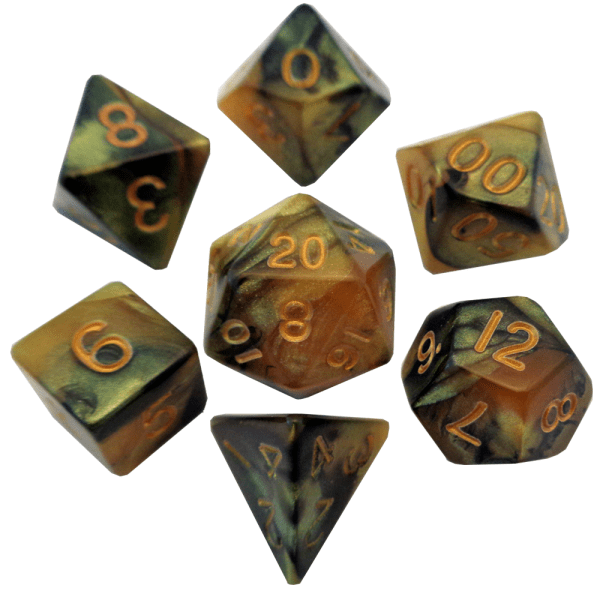 Black and Yellow Poly Dice Set