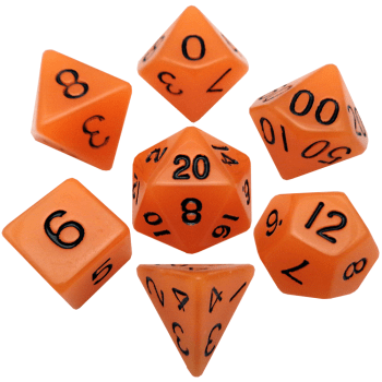 Glow In The Dark Orange Dice Set