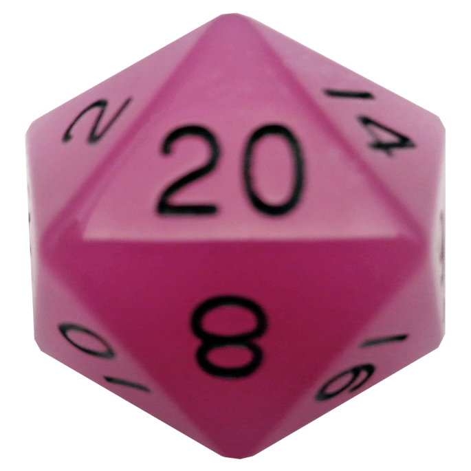 Glow In The Dark Purple D20 Mega Acrylic