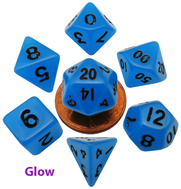 Glow In The Dark Blue Mini Dice Set