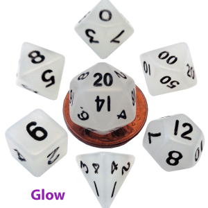Glow In The Dark Clear Mini Dice Set