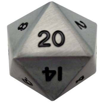 Factory Second Antique Silver Metal D20 Mega