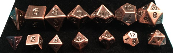 Copper Metal Dice Regular and Mini