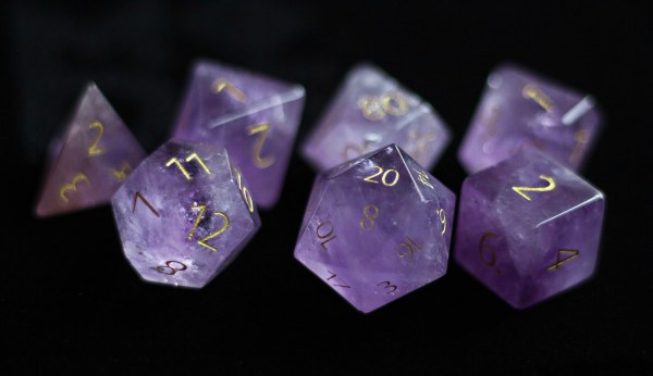 Engraved Amethyst: Full-Sized 16mm Polyhedral Set