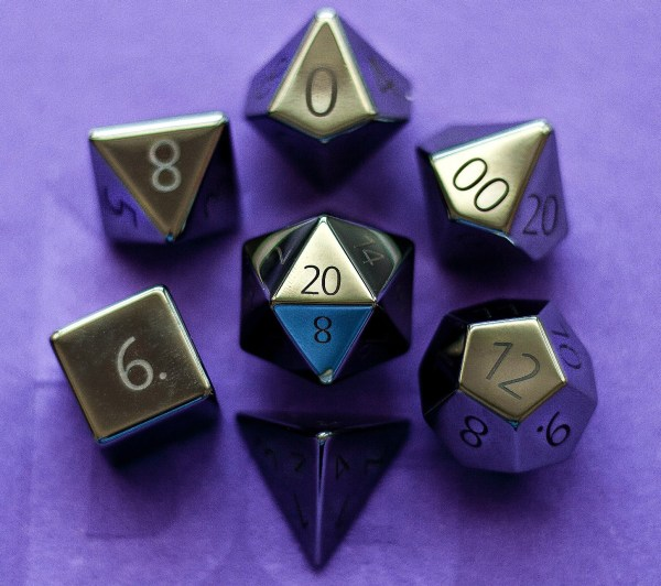 Engraved Hematite:Full-Sized 16mmPolyhedral Set