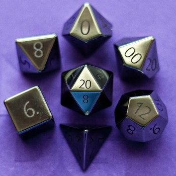 Engraved Hematite: Full-Sized 16mm Polyhedral Set