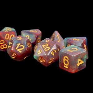 Blue and Red Marble with Gold Numbers 16mm Poly Dice Set