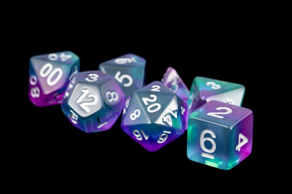 Turquoise and Purple (Clear) Marble 16mm Poly Dice Set
