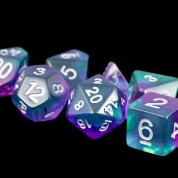 Turquoise and Purple (Clear) Marble16mm Poly Dice Set