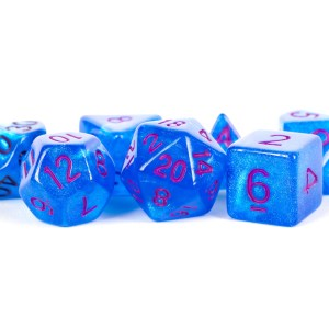 Stardust Blue with Purple Numbers 16mm Polyhedral Dice Set