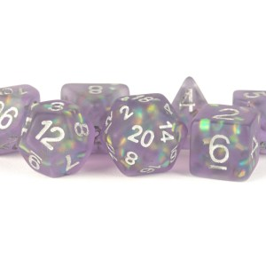 Icy Opal 16mm Resin Poly Dice Set: Purple with Silver Numbers