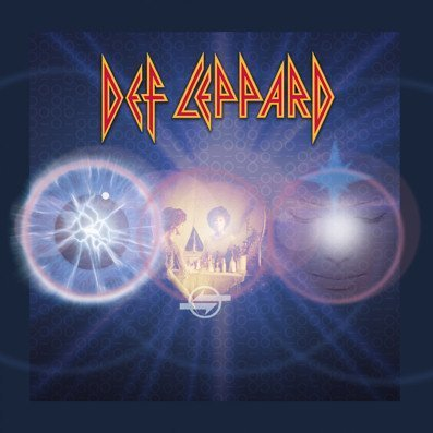Def Leppard Volume 2 album cover. The cover has the band's logo at the top then in the centre are 3 circles, each containing a blurry version of a previous album. The artwork then has a lot of lens flare effect on it.