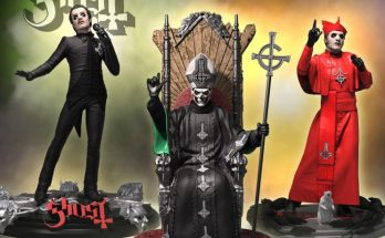 Three statues based on Ghost by the company Knucklebonz. The first is Cardinal Copia in his black suit with very fitted trousers that leave nothing to the imagination. The base has the Ghost logo and Nameless Ghoul masks. The second Cardinal Copia is him in his red gown and hat on a base with rats. The last statue is Papa Emeritus 2 sat on an ornate throne, he holds his Grucifix staff.