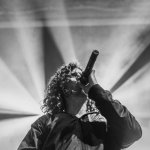 Black and white photo of Jonny Hawkins of Nothing More