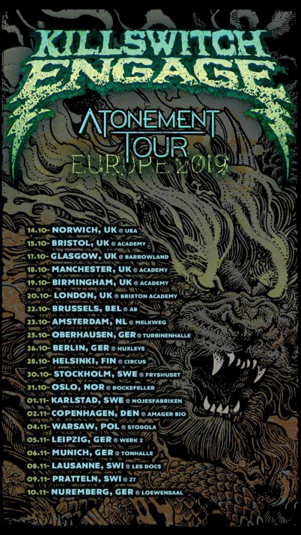 Killswitch Engage Europe Tour Poster, Lion, Green and Black Backdrop, Tour Dates