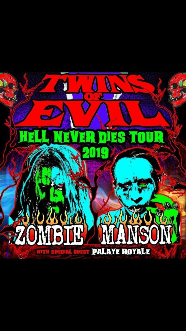 Twins of Evil Tour Poster, Tour Dates, Black Background with Neon Images