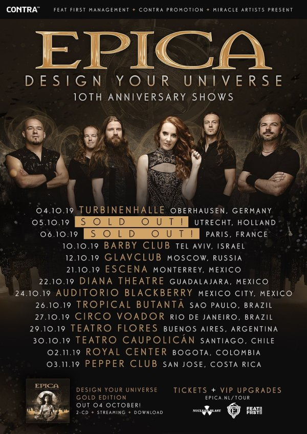 Tour Poster, Epica, Black, Gold, Band Members