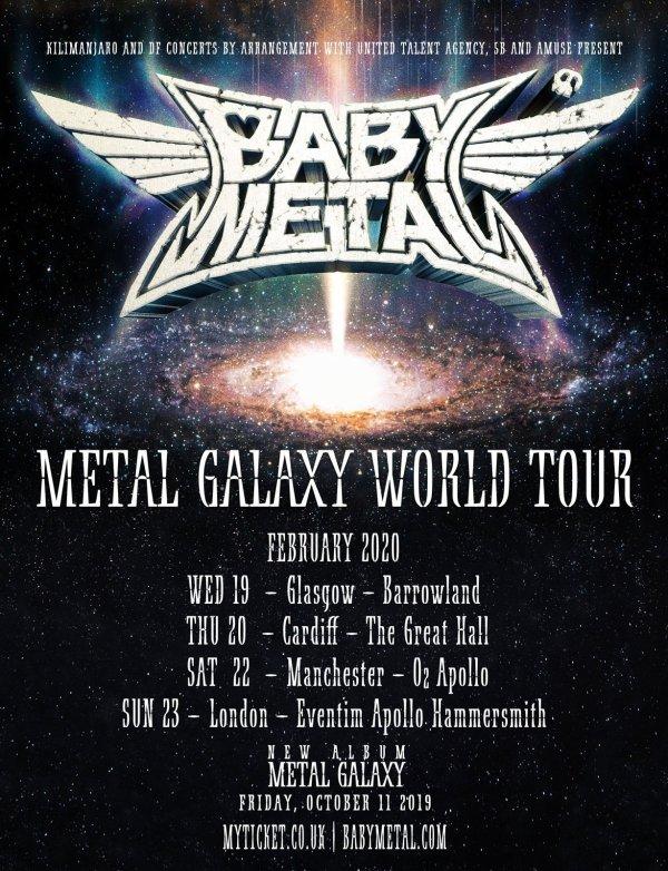BabyMetal Tour Poster UK, Black, Sliver Text, Band Names, Tour Dates