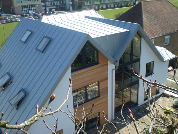 Zinc roofing and cladding on Brighton Sussex family house