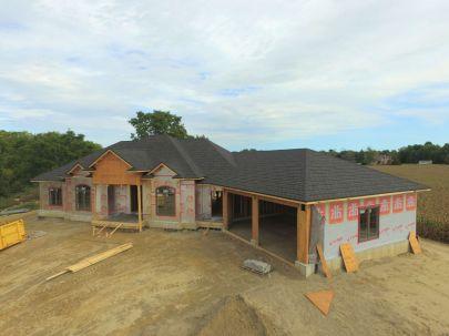 Courtland Ontario_Steel Shingle_Metal Granite Ridge Shingle_Onyx_Under Construction_Metal Roof Outlet Ontario