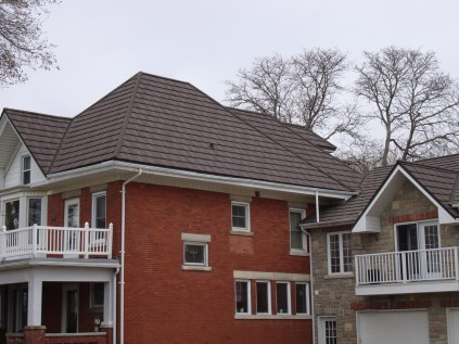 Aylmer metal roofing Boral Steel Pinecrest Shake charcoal