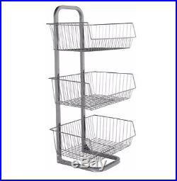 Kitchen Vegetable Stand 3 Tier Fruit Basket Metal Storage