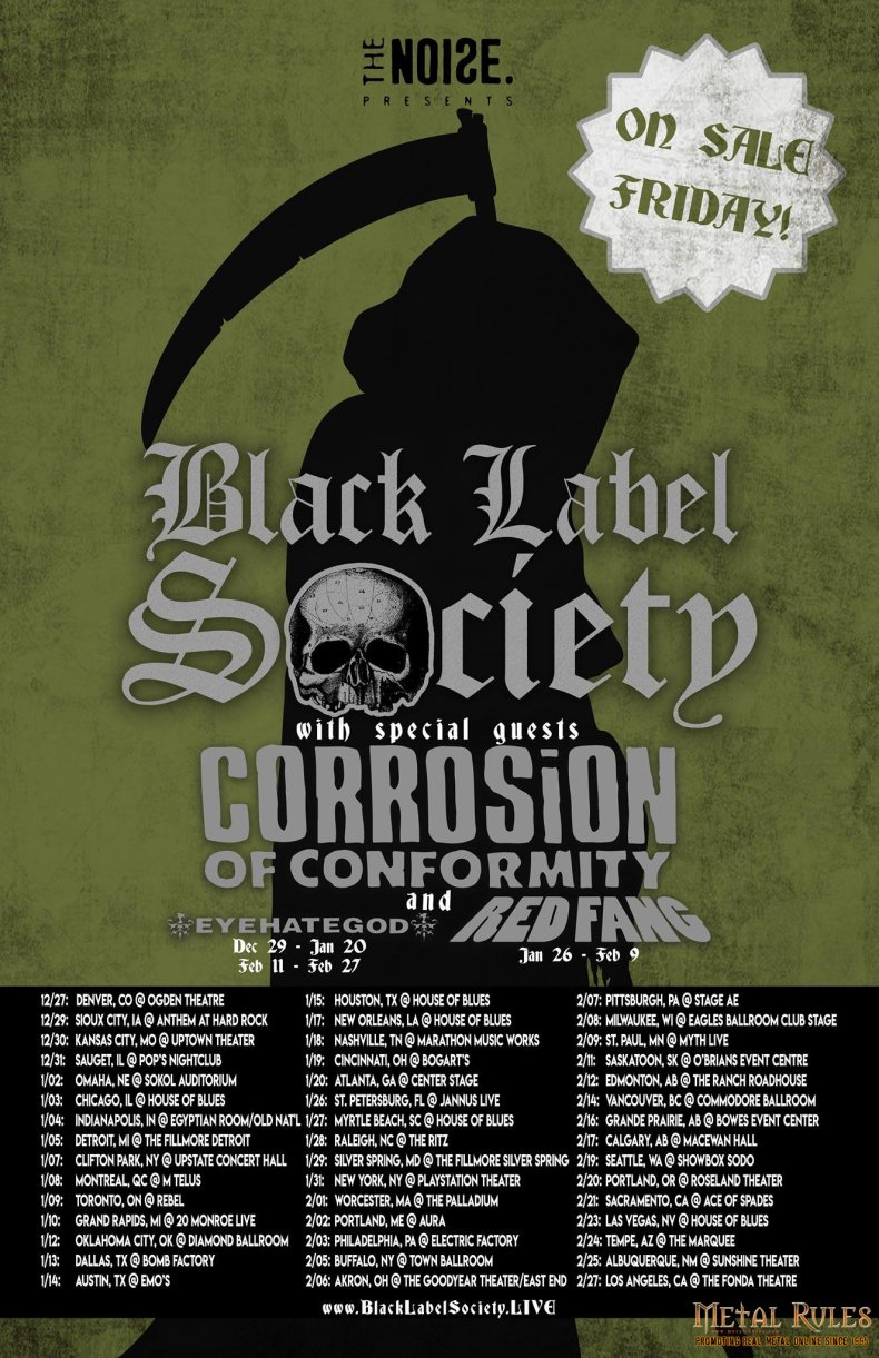 blacklabelsociety tour2018 - GIG REVIEW: Black Label Society, Corrosion of Conformity & Eyehategod Live at The Fillmore, Detroit, MI