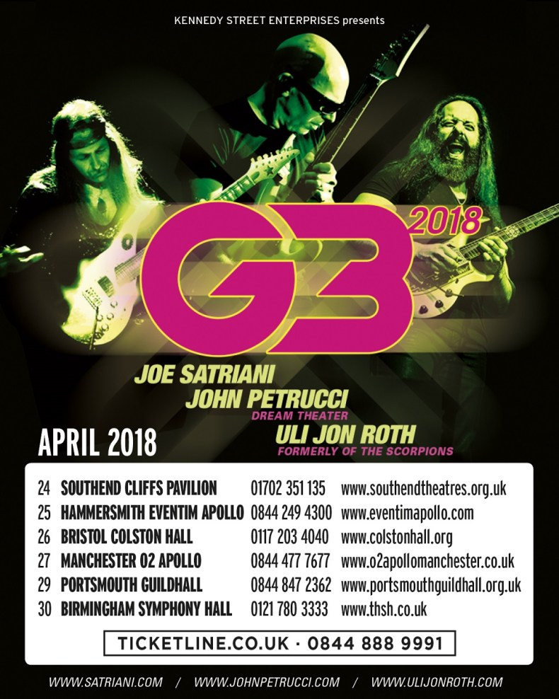 G3 - TOUR: Joe Satriani's G3 UK Tour Dates Announces With John Petrucci & Uli Jon Roth