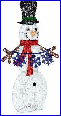 6175in Lighted Acrylic Snowman  Snowflake Indoor Outdoor Christmas Yard Decor