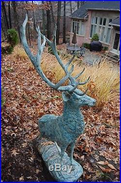 Large Metal Bronze Deer Stag Elk Outdoor Yard Sculpture
