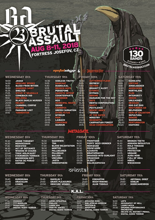 brutal assault shedule