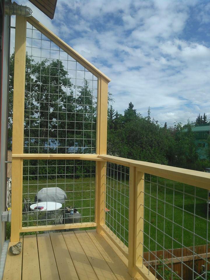 Bedroom balcony, yellow cedar and galvanized metal