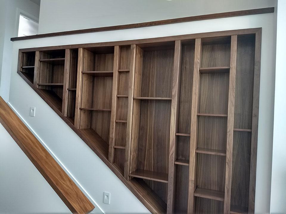 Black walnut bookshelves
