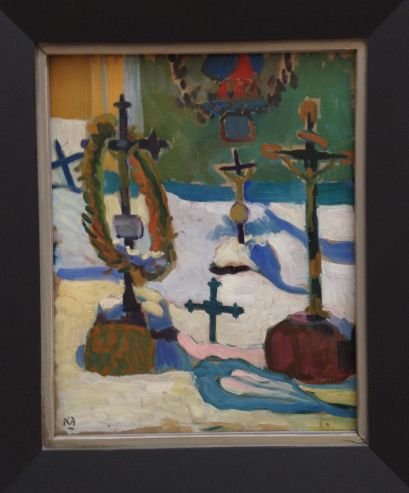 Cemetery with snow by Gabriele Münter