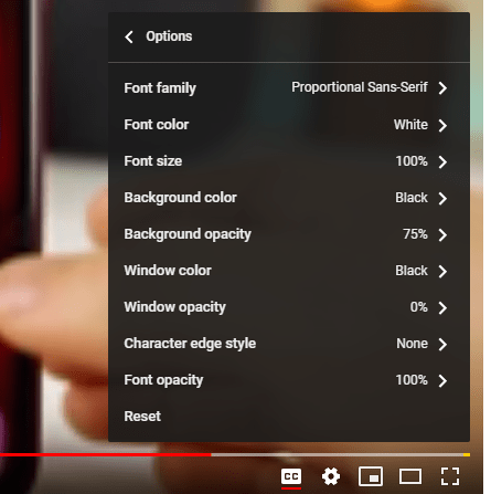 YouTube Subtitle Option