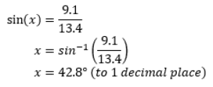 using inverse sin to find x
