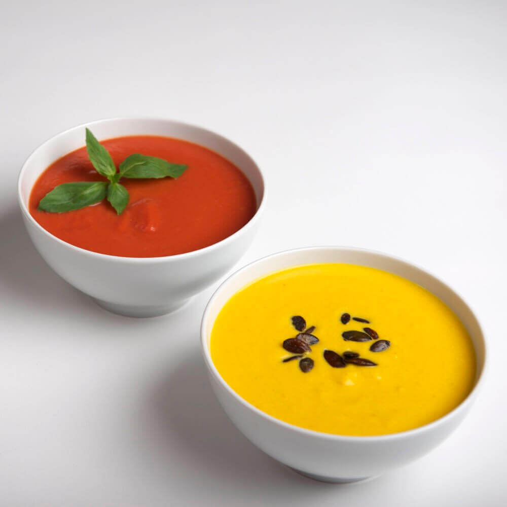 Tomaten- & Kuerbiscremesuppe