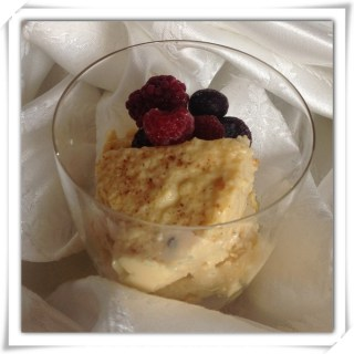 Dessert Quickie… Baked Custard and cinnamon sugar berries.